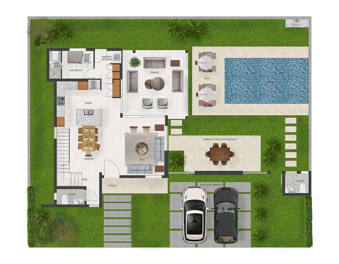 Villas Aguamarina Modelo A - Primer Nivel